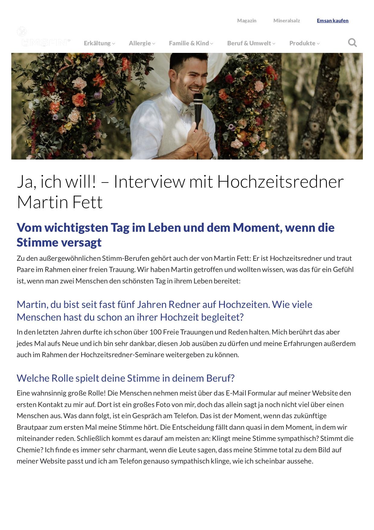 Ja, ich will! – Interview mit Hochzeitsredner Martin - EMSAN Freier Redner Ausbildung