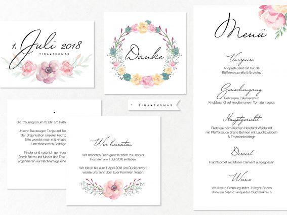 Hochzeitspapeterie für Eure Freie Trauung Design #10 PinkPetals