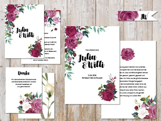 Hochzeitspapeterie für Eure Freie Trauung Design #4 Vintage Rose