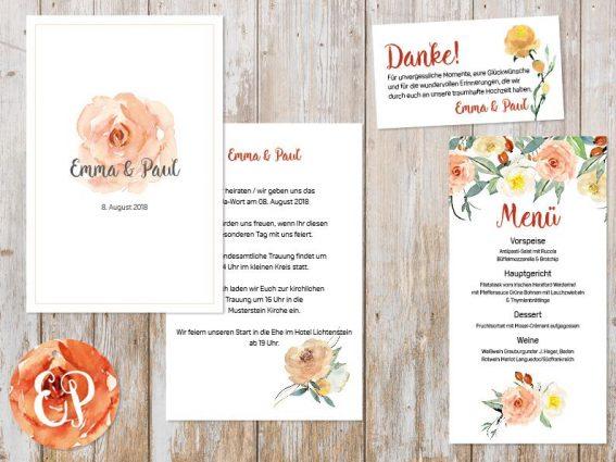 Hochzeitspapeterie für Eure Freie Trauung Design #5 Pfingstrose