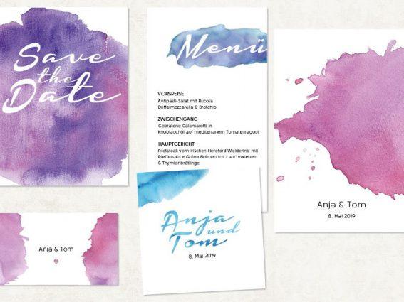Hochzeitspapeterie für Eure Freie Trauung Design #6 Wasserfarben