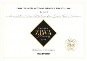 martinredet Martin Fett ist der beste Trauredner Deutschlands Ausbildung Hochzeitsredner Freier Redner Freie Trauung ZIWA Wedding Awards 2020